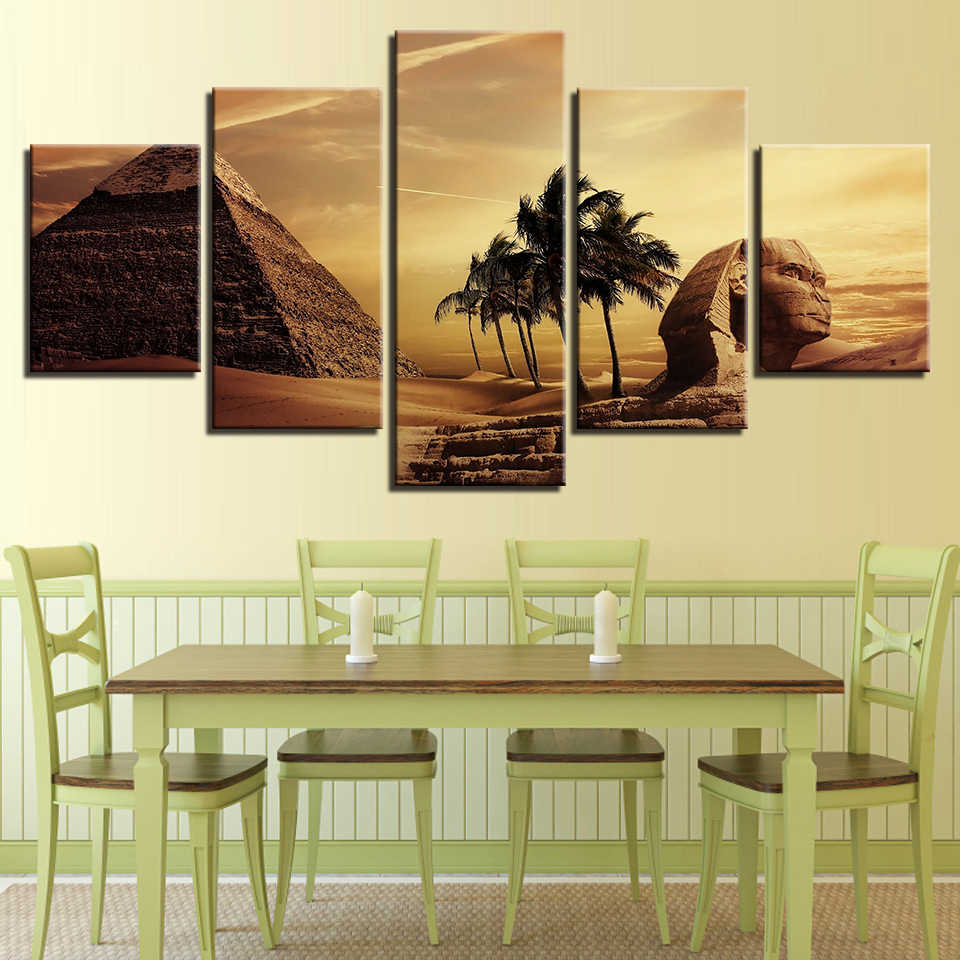 Embelish 5 Pieces Egyptian Pyramids Modern Home Decor Modular Pictures Sunset Desert Living Room Wall Posters HD Canvas Painting
