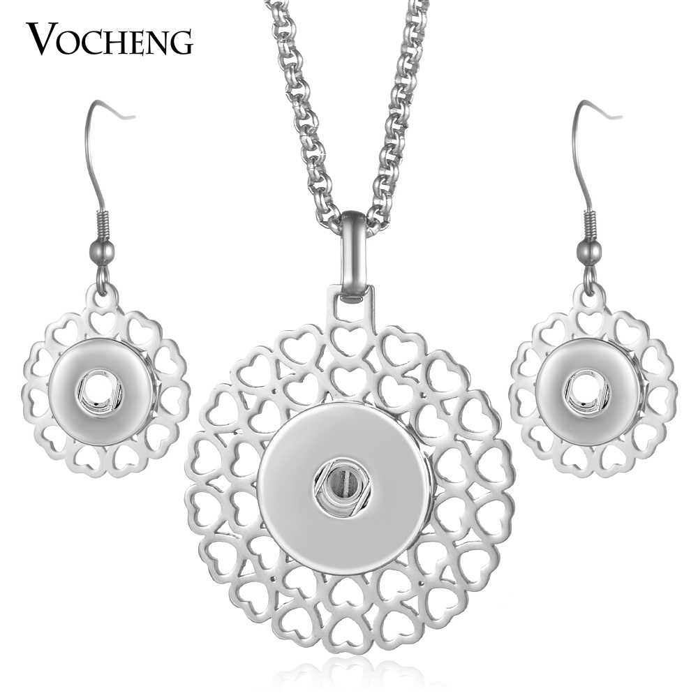 Stainless Steel Ginger Snap Button Jewelry Set 18mm Pendants Necklace and 12mm Earrings NN-625 Vocheng
