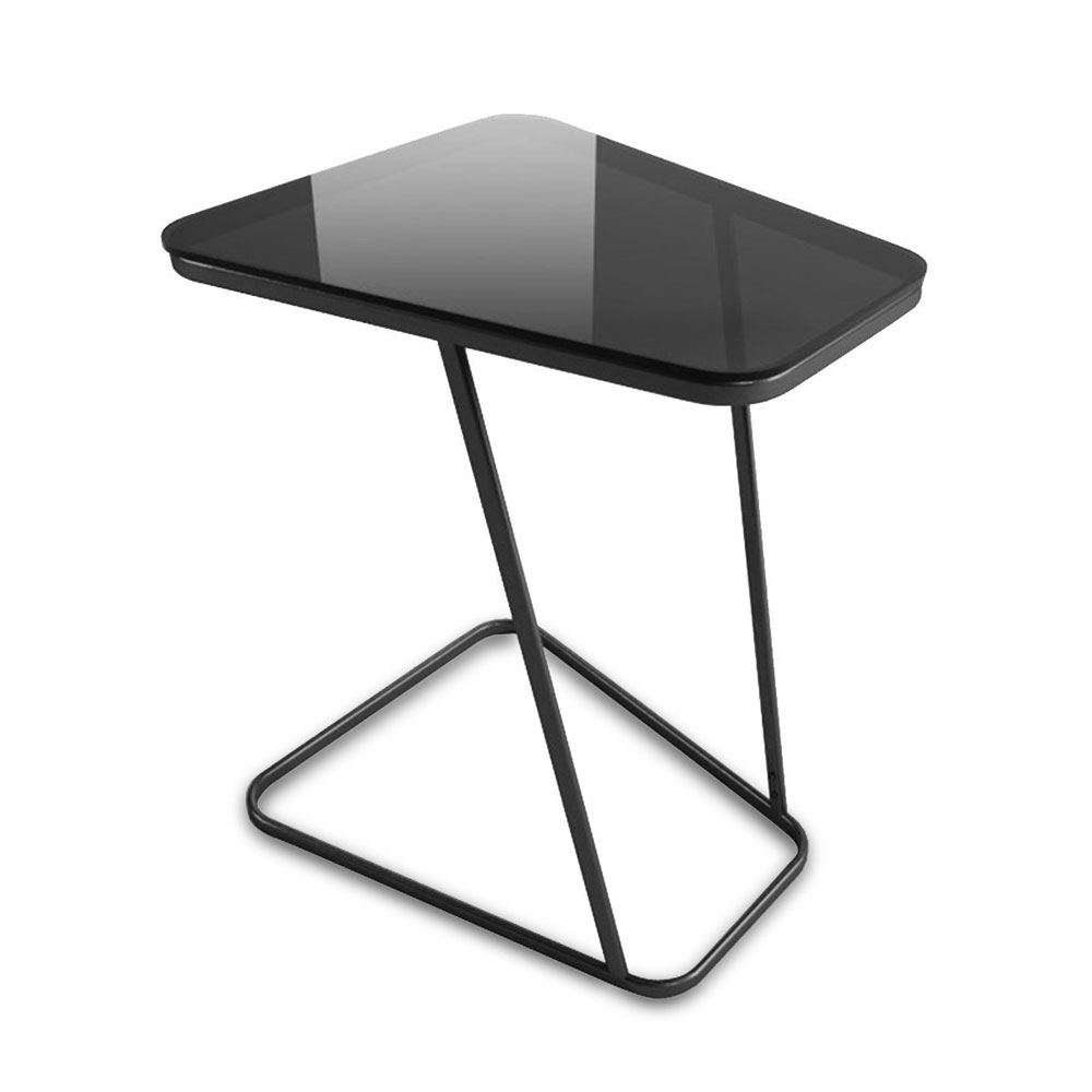 C-Shape End Table Small Side Table Computer Tray Table for Living room / Bedroom, Toughened Glass Top simple modern toughened glass small round bar table living room home leisure fashion high round table