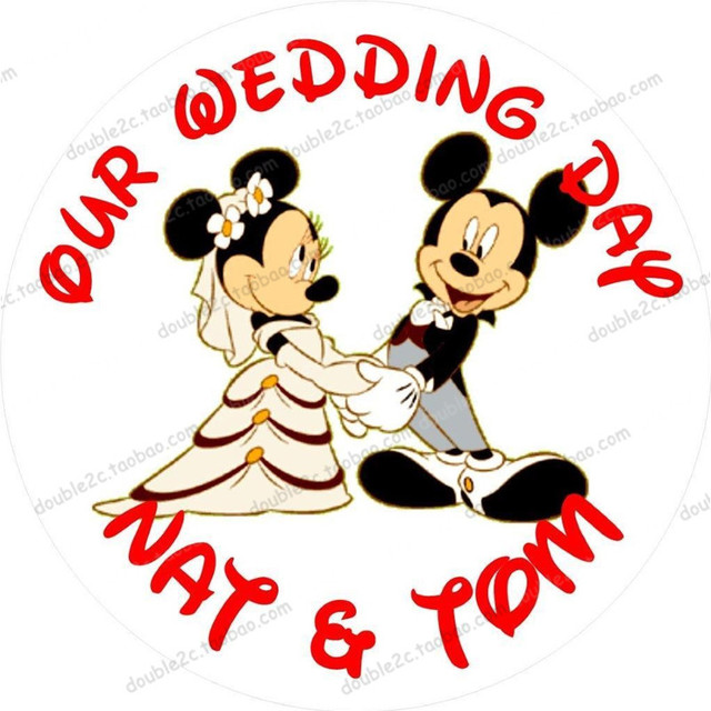 Edible paper for wedding cake topper with name&date,mickey&minne ...