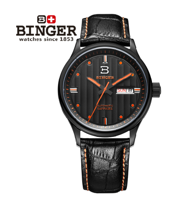 2016 New Binger Fashion Casual Cow Leather Watches Waterproof Wristwatches Hours for Man Sapphire Orange Quartz