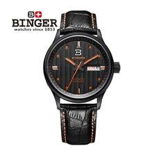 2016 Nueva Binger Moda Casual Relojes de Cuero de Vaca A Prueba de agua Horas de Pulsera para Hombre de Zafiro Naranja Reloj de Cuarzo