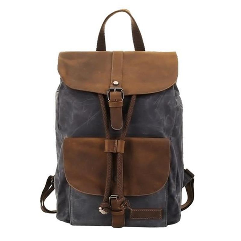 YUPINXUAN High Quality Oil Wax Canvas Backpacks for Men Vintage Waterproof School Backpack 14