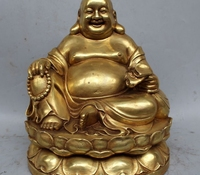 11 Chinese Buddhism Copper Gild Happy Laugh Maitreya Buddha Statue Sculpture