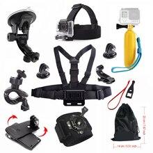 Para gopro accesorios hero 4 5 ventosa coche palo flotador chest mount correa sj5000x sj4000 sj5000 sjcam gopro cámara de la acción 48