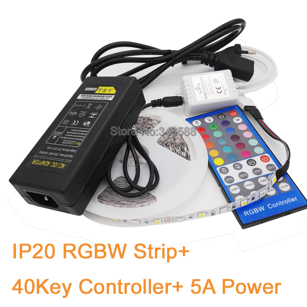 5M 12V SMD 5050 RGBW / RGBWW LED Strip Light Flexible Tape 60LED/M IP20 Non-Waterproof + 40key IR Remote Controller+12V 5A Power 10pcs 5 pin led strip wire connector for 12mm 5050 rgbw rgby ip20 non waterproof led strip to wire connection terminals