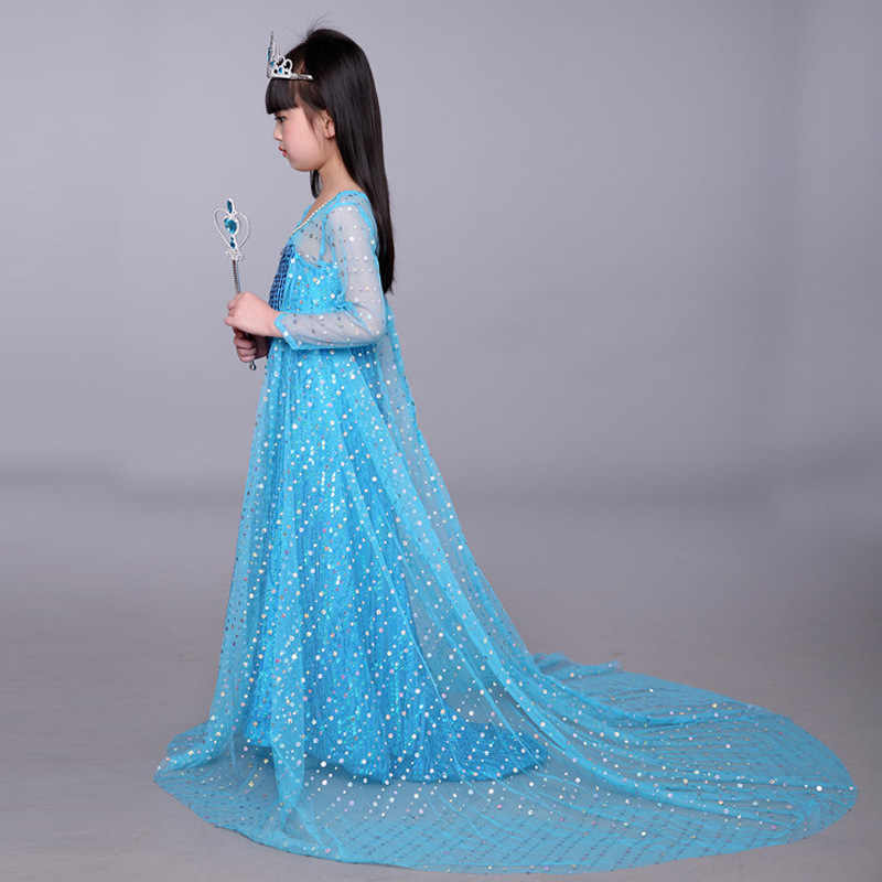... Pink Blue Elsa and Anna Dress Royal Birthday Shimmer and Shine for Girls  Princess Kids Evening ... d46887204c0a