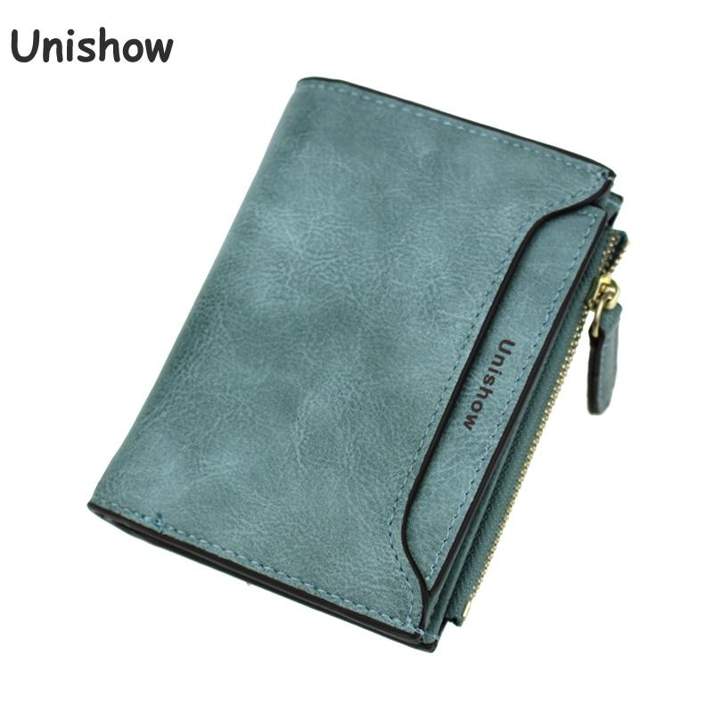 Unishow Solid Vintage Wallet Small Pu Leather Women Wallet Brand Short Design Letter Women Purse Female Lady Coin Wallet