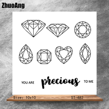 ZhuoAng Shiny diam Transparent Clear Stamps DIY Scrapbooking Album Card Making Decoration Embossing Stencil
