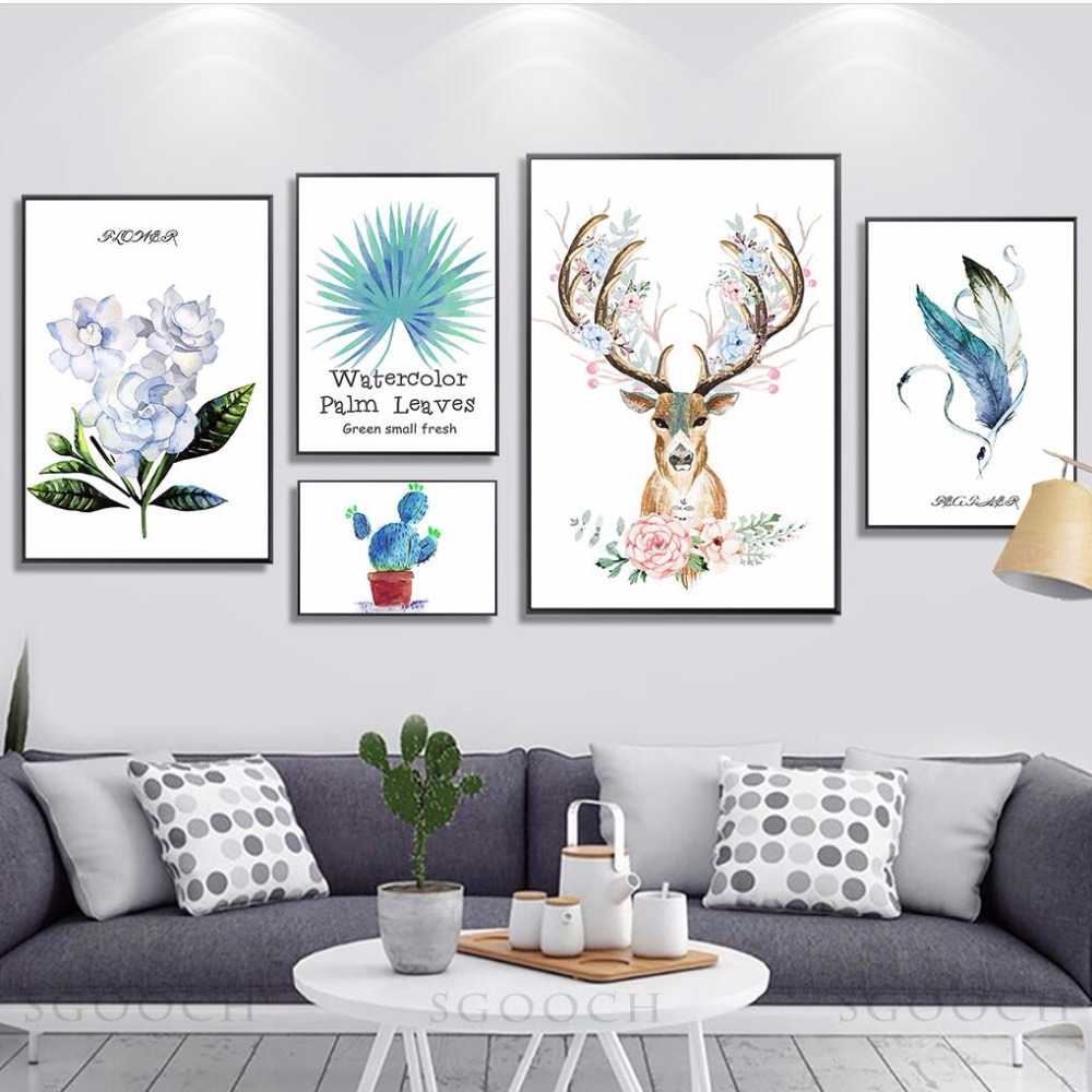Nordic Home Decor Cartoon Deer and Flower Canvas Painting Wall ...