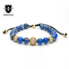Chapado en oro trenzado de diy micro pave cz pulseras del encanto ajustable hombres azul cuentas de piedra de jaspe pulsera pulseira masculina g-4