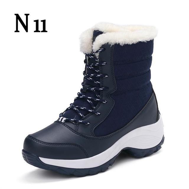 N11 Для женщин Ботинки Твердые Slip-On мягкие изящные женские зимние ботинки Мода 2017 г. Обувь- Лидер продаж круглый носок плоские с На зимнем меху Ботильоны
