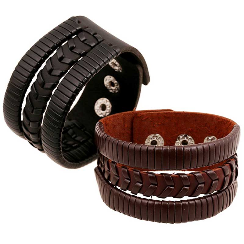 Punk Style Braided Woven Handmade Bracelets Party Jewelry Wide Bangles Genuine Leather Motorcycle Wrap Cuff Wristband Women/Men