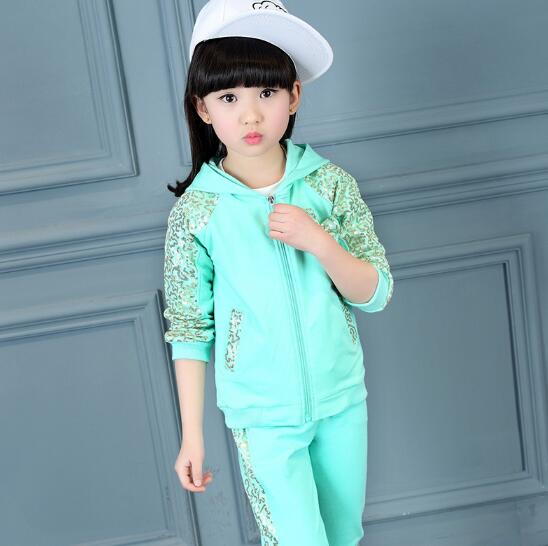 Girls Clothing Sets Autumn Children Sports Suit 3pcs/set Girl Casual outfits Floral Print Tracksuit Kids Clothes Sets