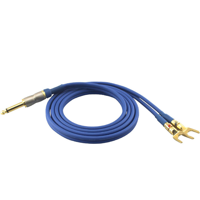 Audio Cable MONO 1/4 TS Jack 6.35mm to Dual Spade Amplifier Active Speaker Cable 6.3 to  ...