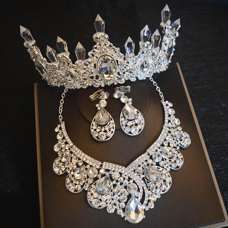 Luxury Big Rhinestone Bridal Jewelry Sets Silver Crystal Crown Tiaras Statement Necklace Earrings Sets For Brides Accessories