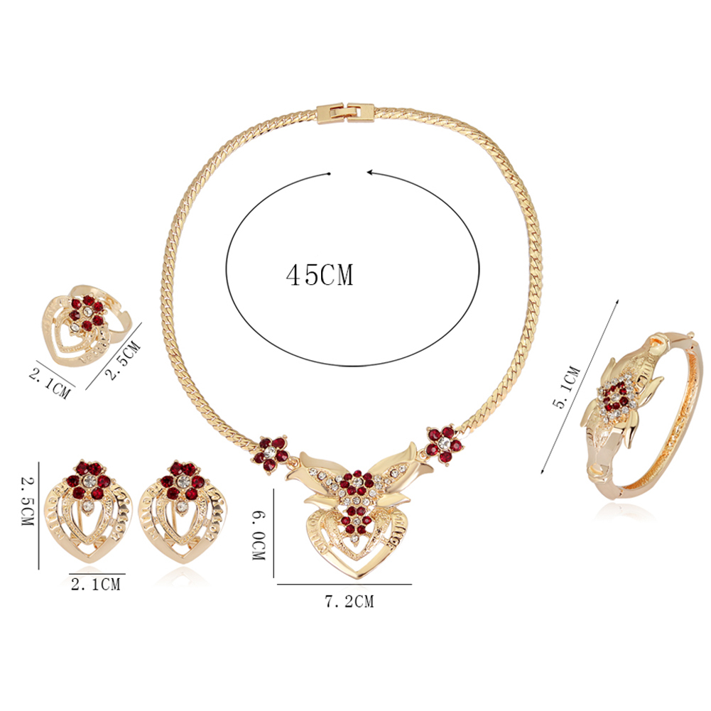 Women Wedding Flower Rhinestone Ring Earrings Necklace Bracelet Crystal Bridal Wedding Party Jewelry Set in Jewelry Sets from Jewelry Accessories
