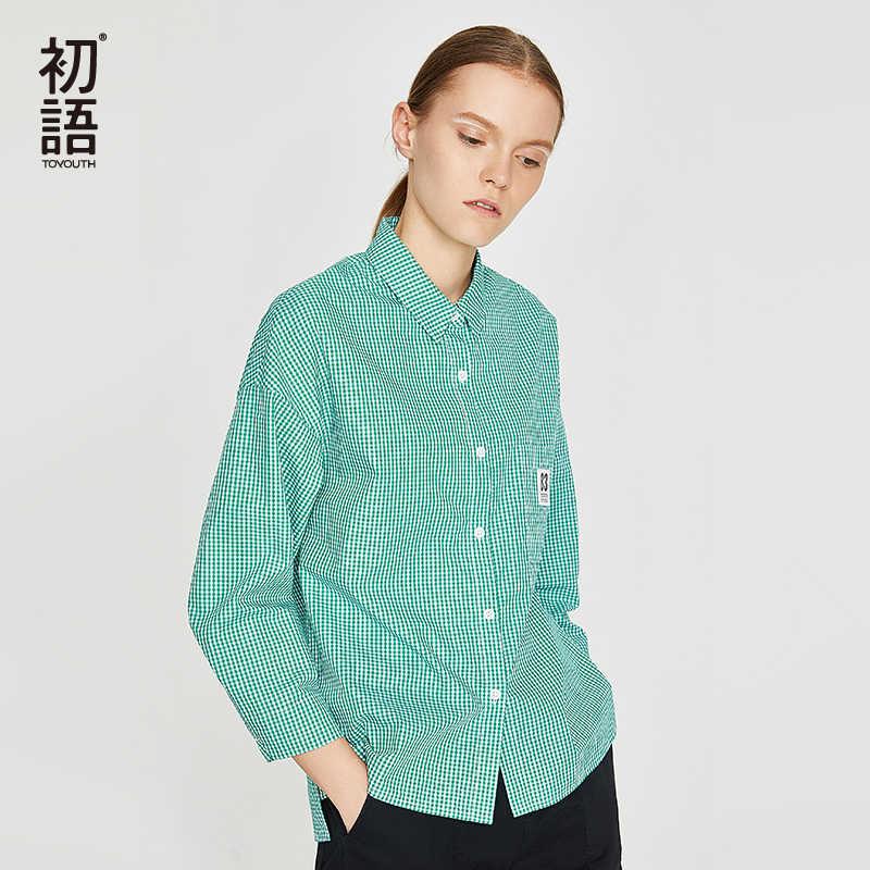 Toyouth Turn Kerah Blus Kotak-kotak Wanita Longgar Kasual Blus Plus Ukuran Lengan Panjang Katun Kemeja Blusas Mujer Camisa Atasan