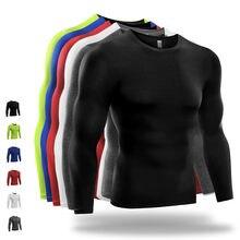 36e5be16f78 Marca de tela de poliéster deportivo camisetas hombres de baloncesto Tenis  de compresión camisas de manga larga Fitness Gym Runn.