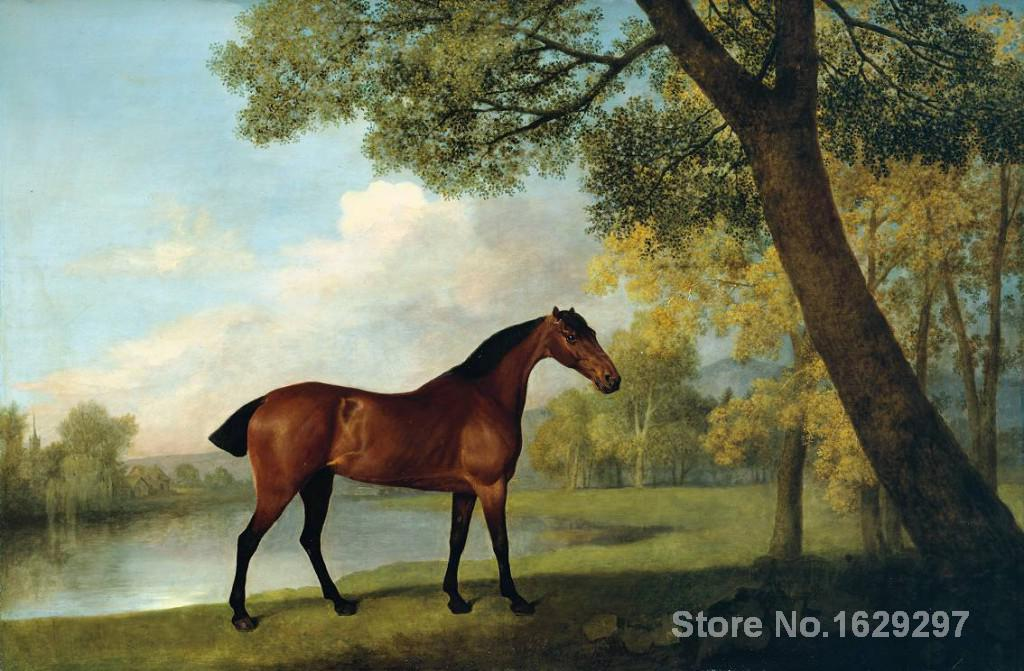 horse Painting oil Bay Hunter by a Lake George Stubbs Hand painted High quality