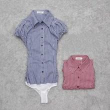Лето, женская модная Повседневная блуза с коротким рукавом, клетчатая Тонкая блузка из смесового хлопка, облегающая блузка, рубашка для работы, Размеры s m l 0005