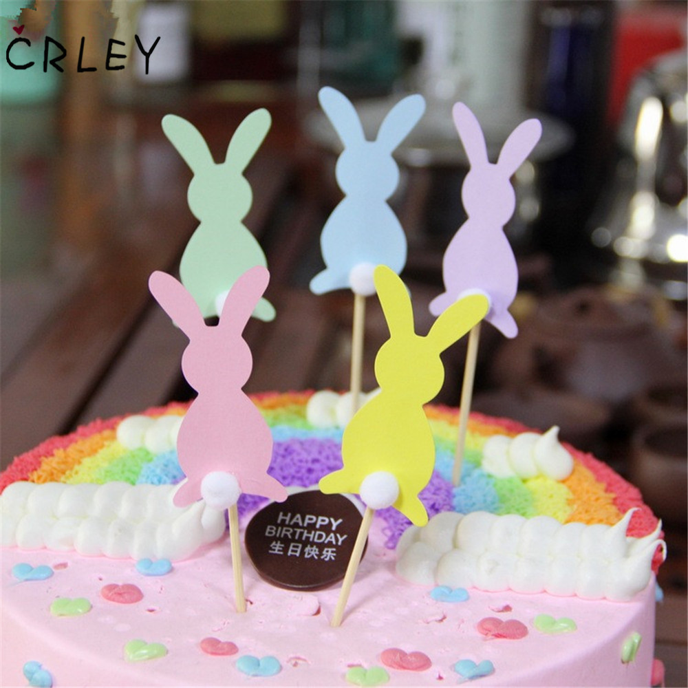 CRLEY 5pcs/lot cake toppers Colorful Cartoon Rabbit Kids Birthday Favors Personalized Happy Cake Decorations Supplies
