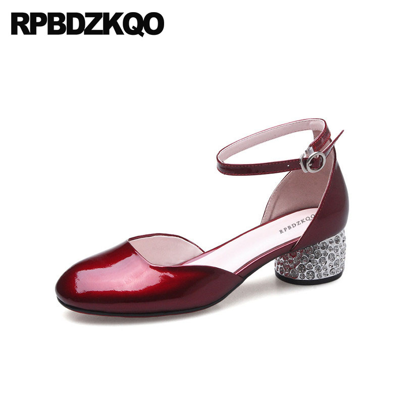 Ankle Strap Patent Leather Metal Wine Red Low Heels Thick Genuine Crystal Wedding Shoes Rhinestone Round Toe Women Pumps Green драйвер navigator 71 466 nd p120 ip20 12v