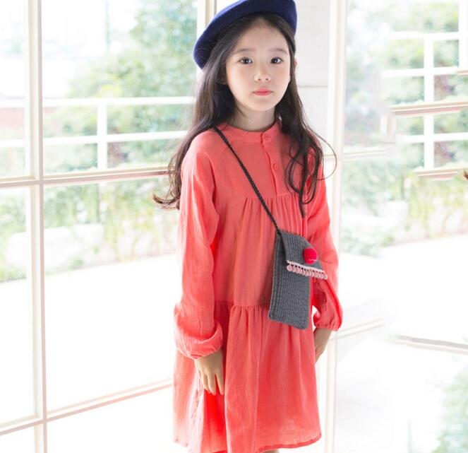 2017 Spring Summer Newest Girls Cotton Linen Long Sleeve Solid Color Dress Students Kids Knee Length Casual Dress