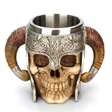 RASABOX - Stainless Steel Handle Horn Skull Beer Cup, Viking Warrior Skull Mug Tankard, Medieval Skull Drinkware Mug for Coffee