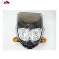 Universal Motor Black Nake Bike headlight for Ducati streetfighter Kawasaki Suzuki Yamaha Honda Cafe Racer Custom Dual Light