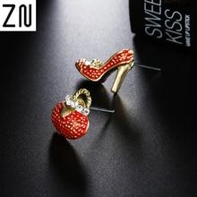 ZN New Fashion Cute Bags Heels Shoe Asymmetric Stud Earrings For Women Gold wholesale High Quality