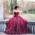 Vestidos de baile 2016 Largo Borgoña Vestidos de Baile de Tul con Flores Piso-Longitud Vestidos de Baile