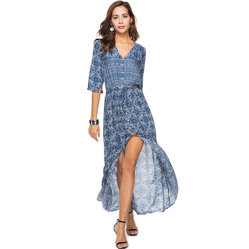 Bohoartist Women Boho Maxi Dress Spring Print V Neck Casual Long Dresses Bohemian Single Breasted Ladies Maxi Beach Dresses New