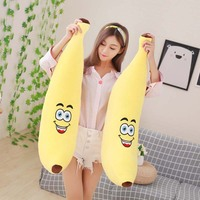 Lovely simulation banana fruit plush toy pillow doll sleeping pillow Down cotton elastic send girlfriend children Soft toys 80cm