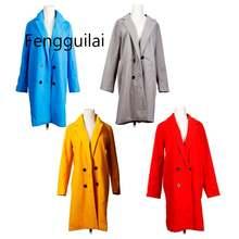 Женское осенне зимнее шерстяное пальто с длинным рукавом и отложным