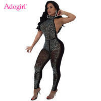 Adogirl Diamonds Sequins Decor Bandage Jumpsuits Sexy Halter Backless Sheer Mesh Women Rompers Night Club Costumes Overalls
