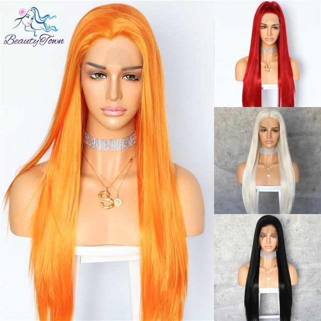 BeautyTown HandTied naranja rojo 1B blanco resistente al calor recta Cosplay celebridad chica boda fiesta sintético encaje peluca frontal