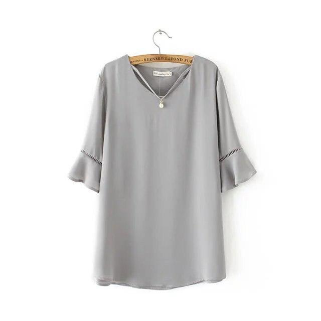 Estilo de verano 2017 La Moda de Nueva summer Casual mujeres camiseta de Gasa flare manga t shirt solid v cuello rebordear damas de alta calidad