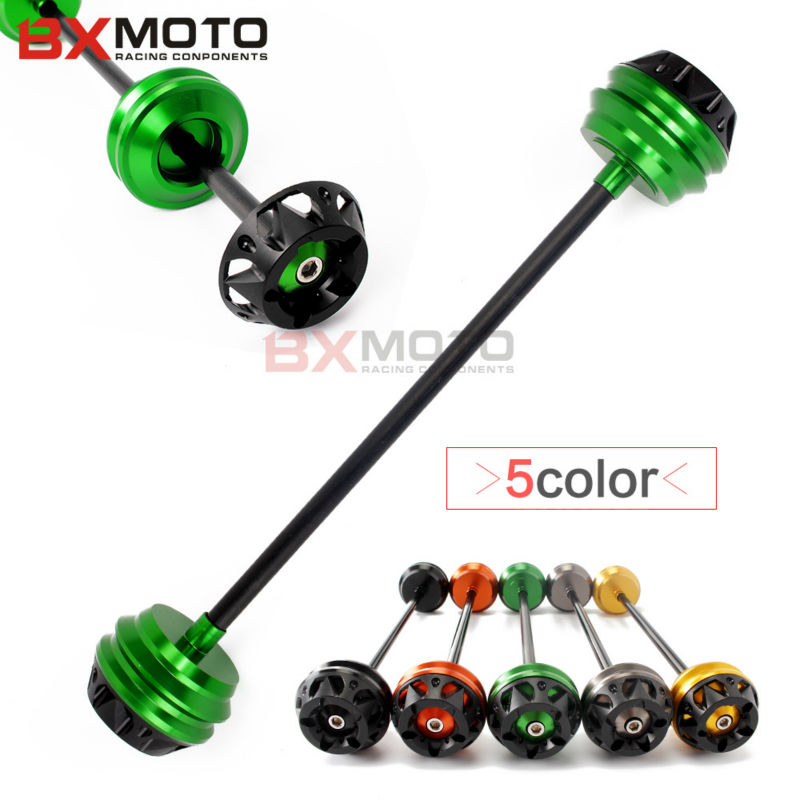 New Hot Motorcycle accessories Green Front Axle Slider Frame Protector Sliders Anti Crash Protector For Kawasaki Z800 Z1000 z900
