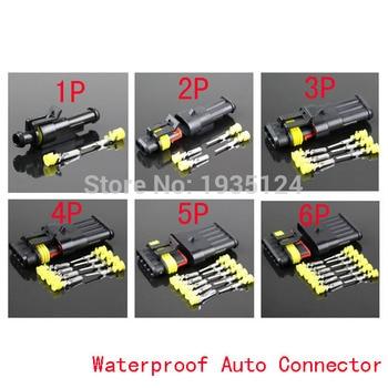 Kit de 5 Juegos 1/2/3/4/5/6Pin AMP 1,5 vías conector de cable eléctrico impermeable, envío de piezas de coche con registro