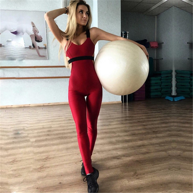 bae03cc095e Sexy Sleeveless Backless Bodysuit Overalls 2018 Women One Piece Jumpsuits  Yoga Suit Long Pants Fitness Workout Leggings Tights