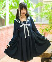 Japanese Kawaii Girls Lolita Long Sleeve Dress Harajuku Anime Cosplay High Waist Sailor Dresses White Navy