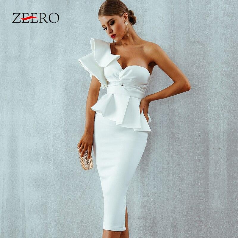 One Shoulder Ruffles Short Sleeve Strapless Club Dress Celebrity Evening Party Dress Women 2019 Sumer Sexy