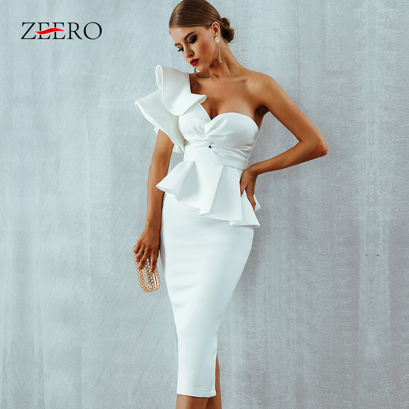 One Shoulder Ruffles Short Sleeve Strapless Club Dress Celebrity Evening Party Dress Women 2019 Sumer Sexy Bodycon Sets Vestidos-in Dresses from Women's Clothing    1