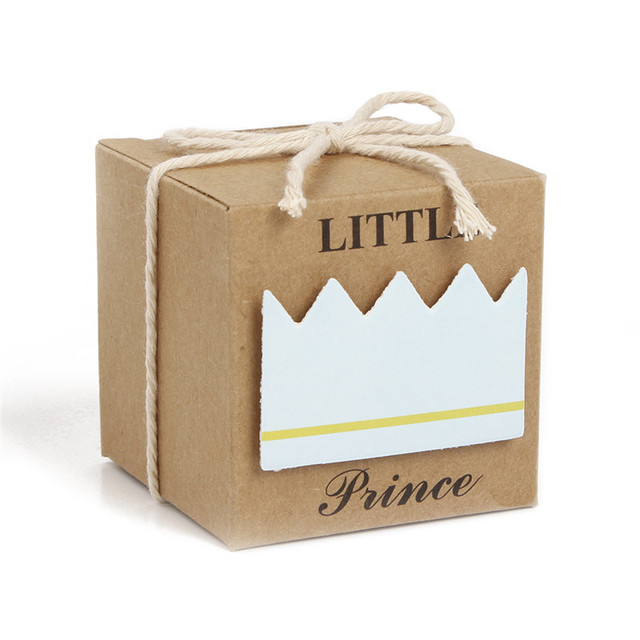 12PCS/LOT Prince Princess Label Paper Candy Boxes Baby Shower Birthday Party Favor Box New Year Decoration Event Party Supplies