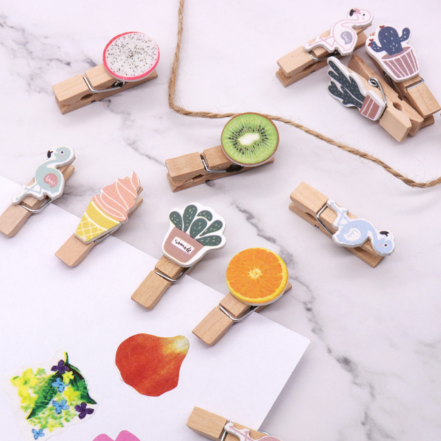 10pcs/pack Mini Flamingo Cat Cartoon Spring Wood Clips Fruit Wood Clips Paper Photo Clip Craft Decoration Clips Clothespin