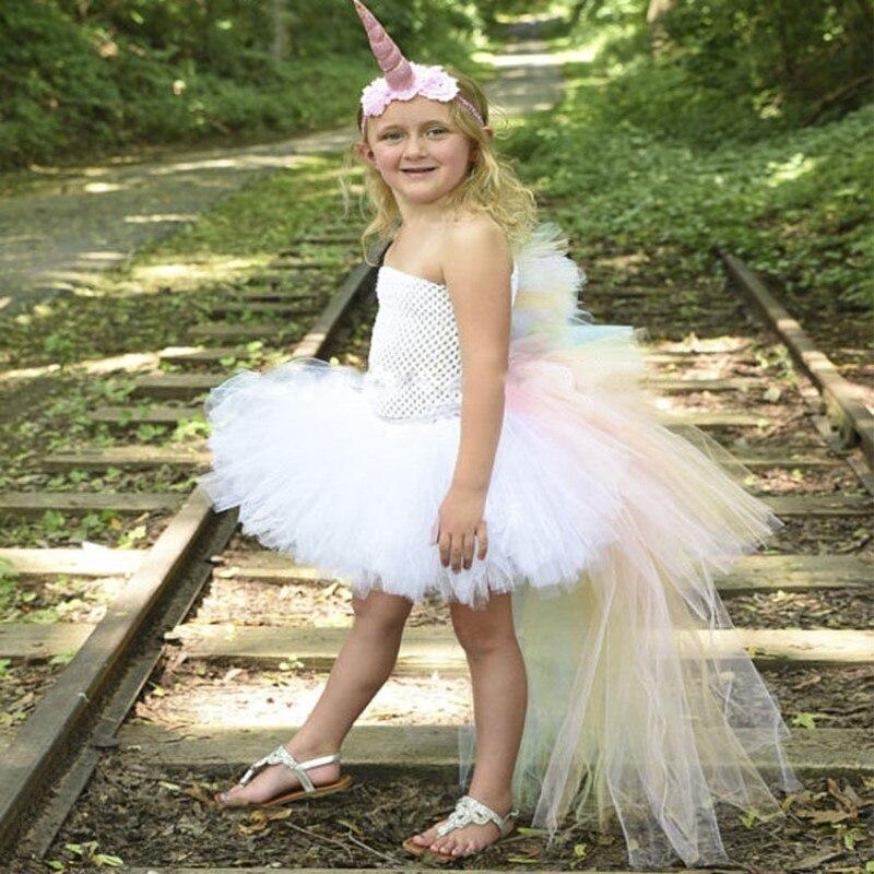 Filles licorne Robe avec licorne bandeau fête Elsa plage Robe d'été bébé vêtements ceintures Robe Fille caractère princesse Robe