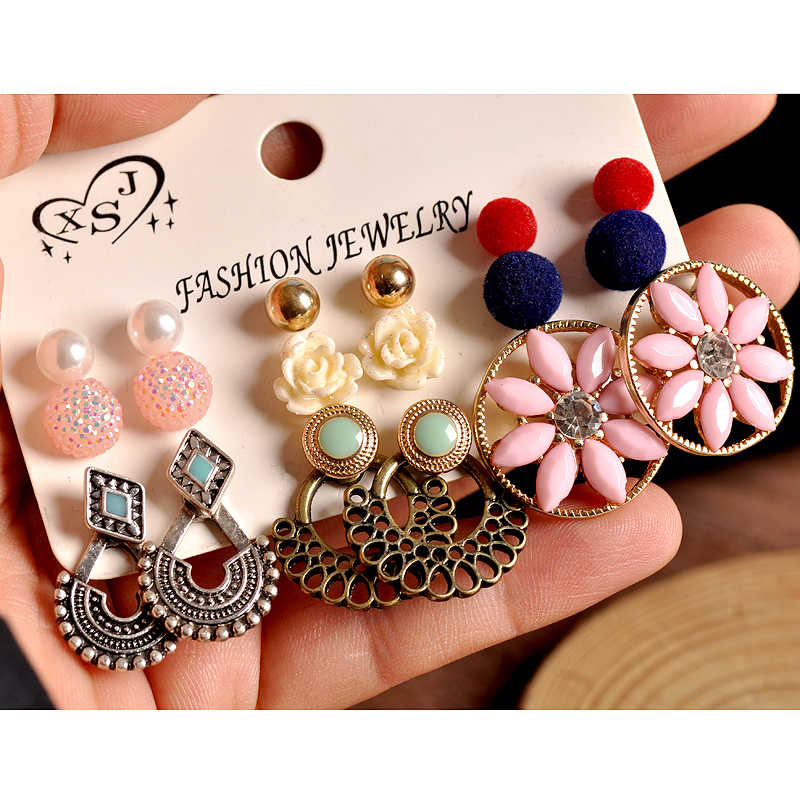 New fashion women jewelry wholesale ladies party pearl pink Bohemian style mix-and-match gorgeous 9 pairs /set earrings gift