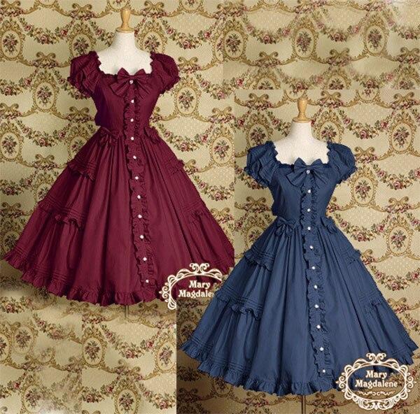 Robe à manches bouffantes Vintage victorienne bleu marine/rouge robe de soirée Lolita princesse nœud papillon Tutu robe de bal de promo