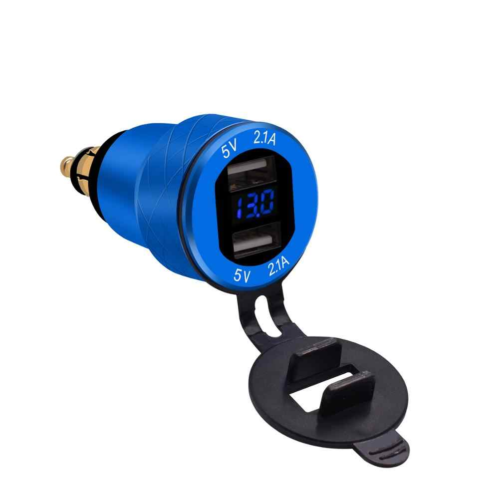 Power Socket Car Quick Charger QC 3.0 4.2A Aluminum Dual USB Moto Cigarette Lighter for BMW LED Display Outlet Adapter